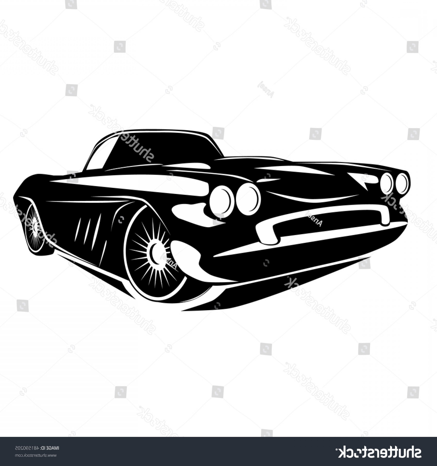 Old School Car Vector: Vintage Muscle Car Vector Abstract Old