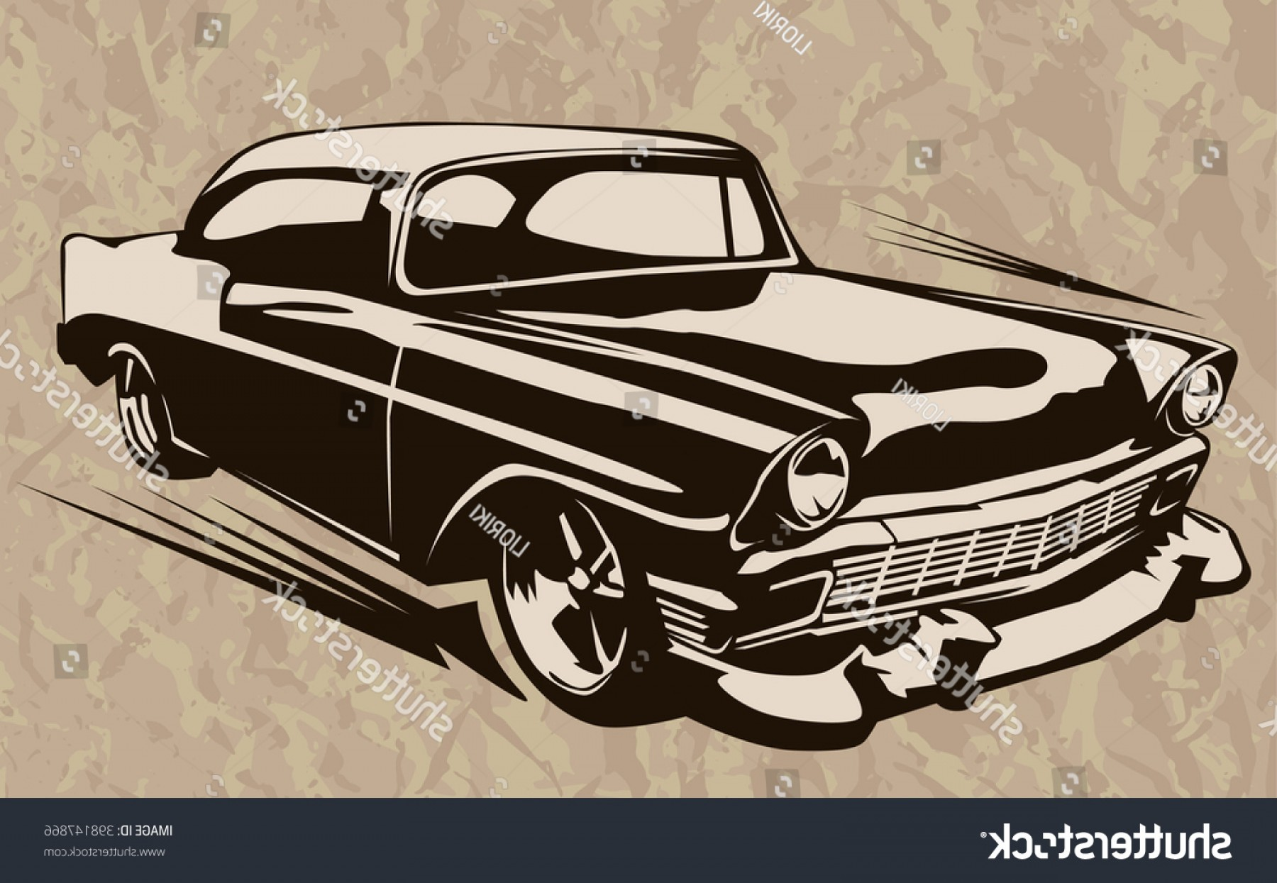 Old School Car Vector: Vintage Muscle Cars Inspired Cartoon Sketch