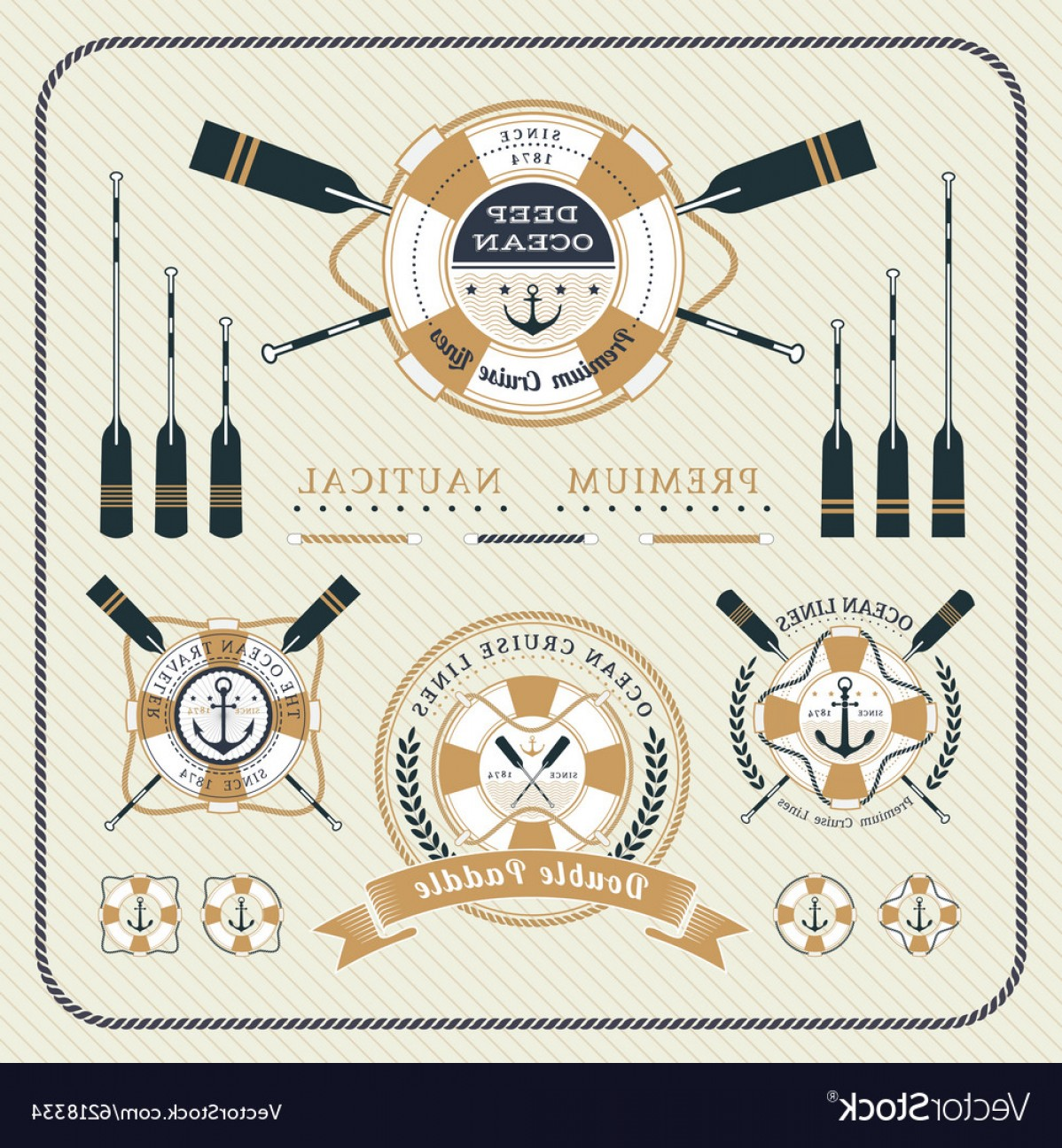 Old Lifesaver Stripe Vectors: Vintage Nautical Lifebuoy And Paddles Label Set Vector
