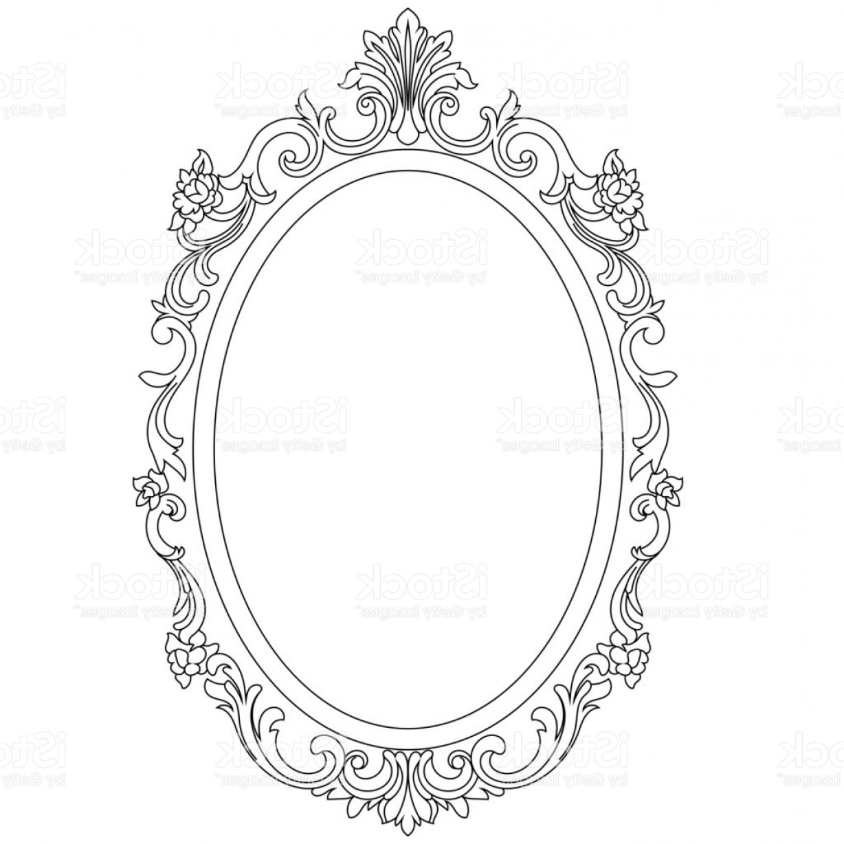Filigree Oval Frame Vector: Vintage Oval Graphical Frame In Antique Style Vector Gm