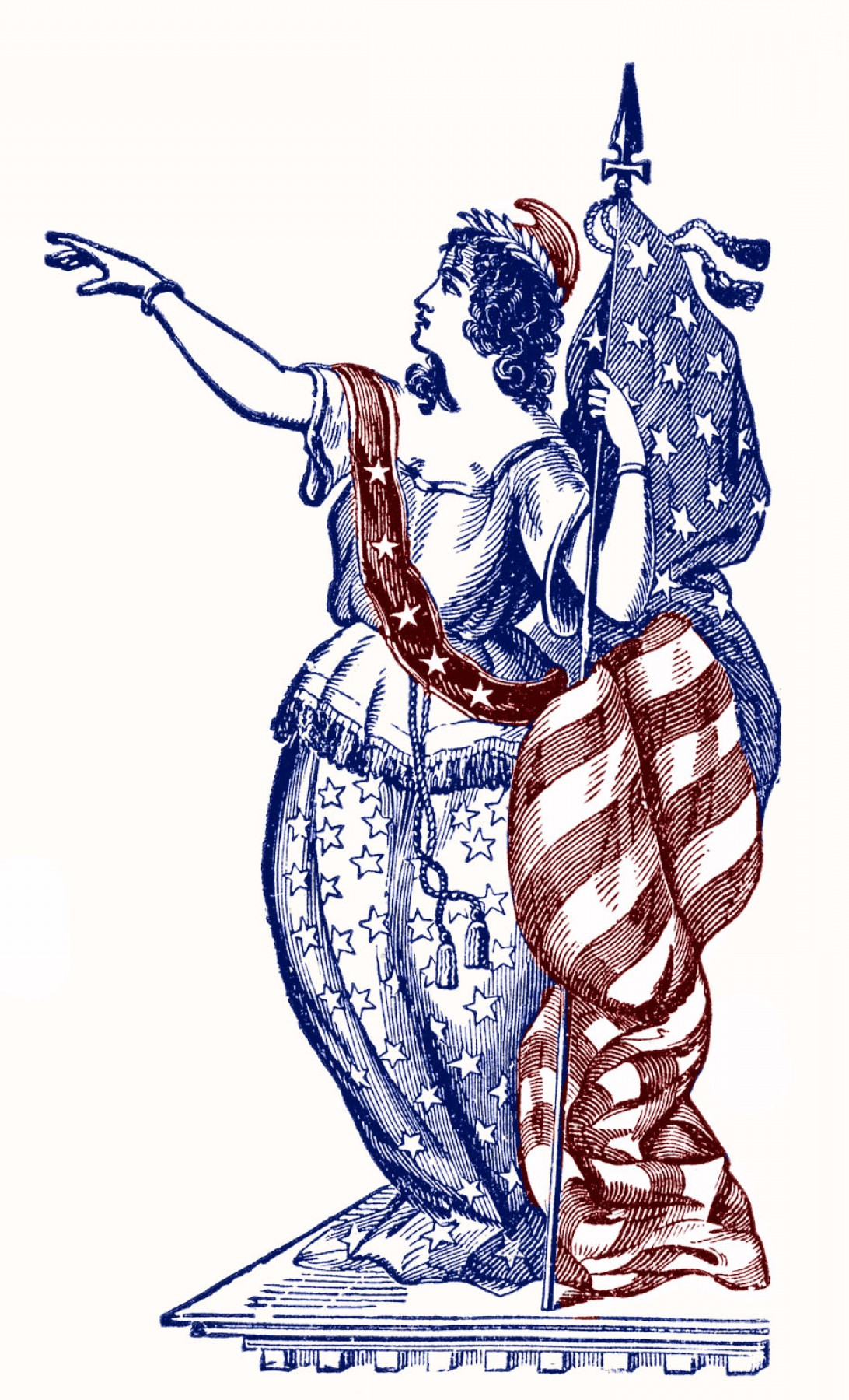 Statue Of Liberty Face Vector: Vintage Patriotic Clip Art Lady Liberty Th Of July