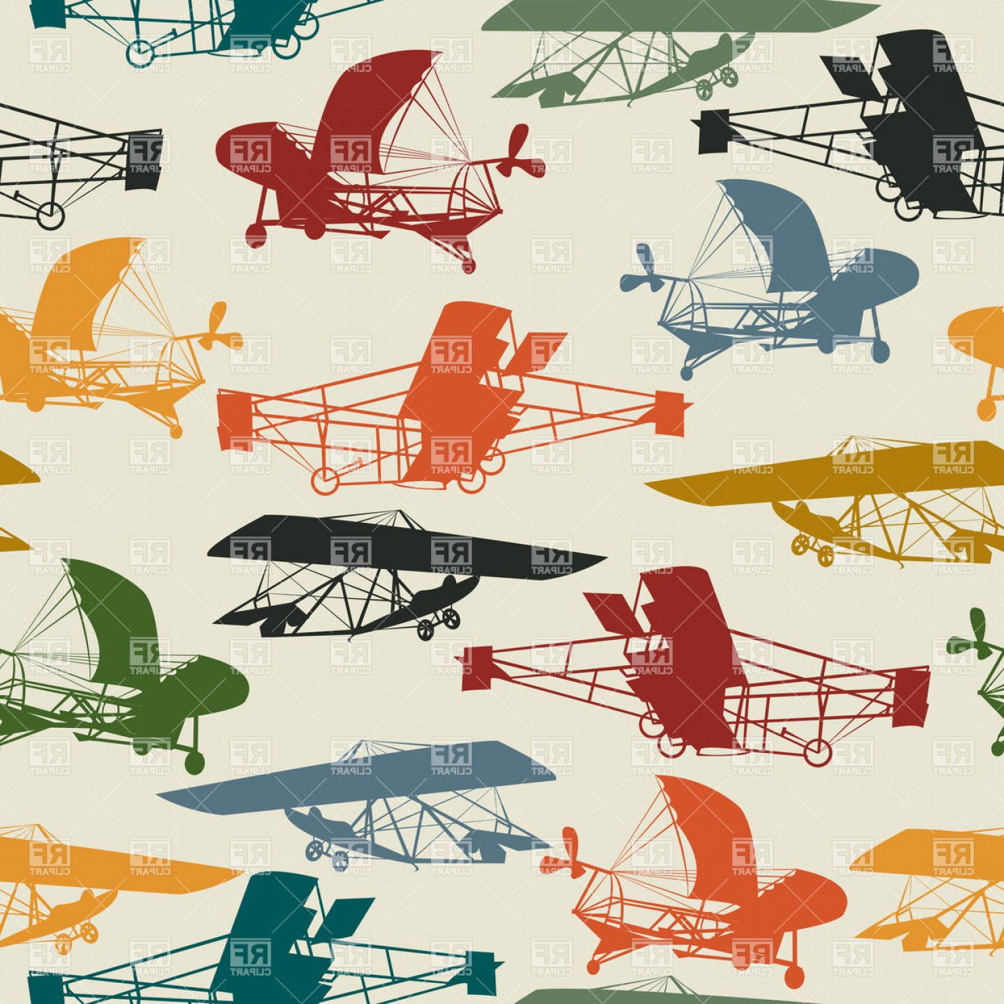 Old School Airplane Fighter Silhouette Vector: Vintage Planes Seamless Pattern Design Vector Clipart