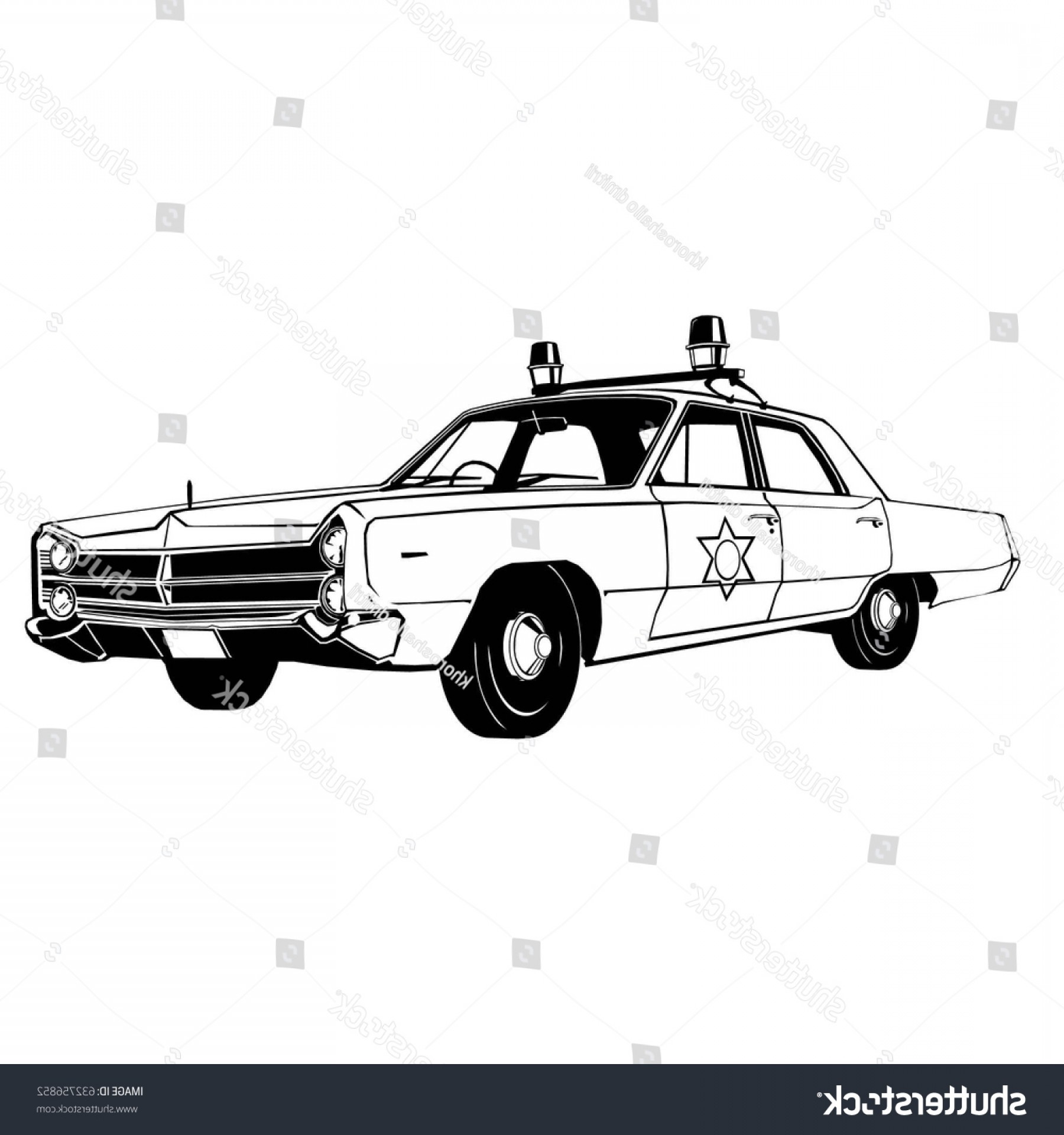 Custom Police Cars Vector: Vintage Police Car Vector Drawing Graphic