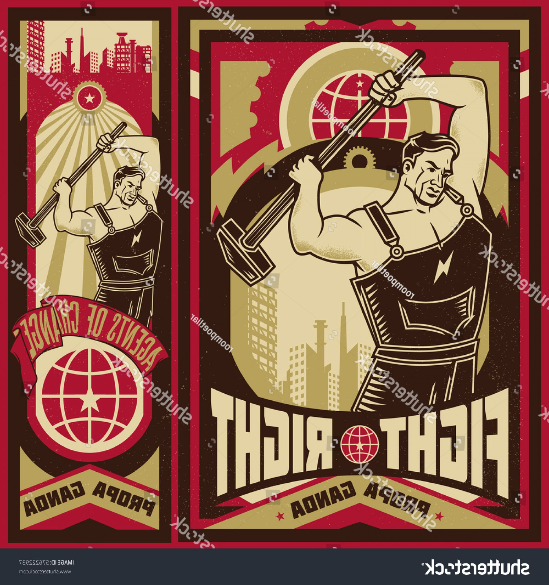 Propaganda Art Poster Vector: Vintage Propaganda Poster Elements Isolated Artwork