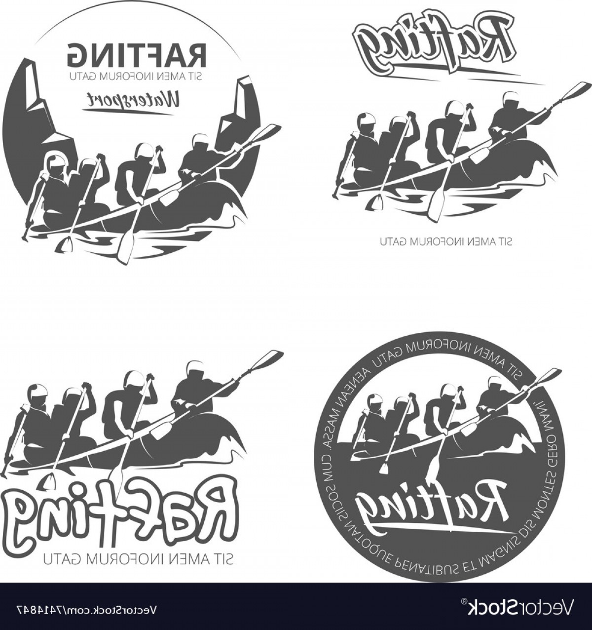 Canoe Vector: Vintage Rafting Canoe And Kayak Labels Vector