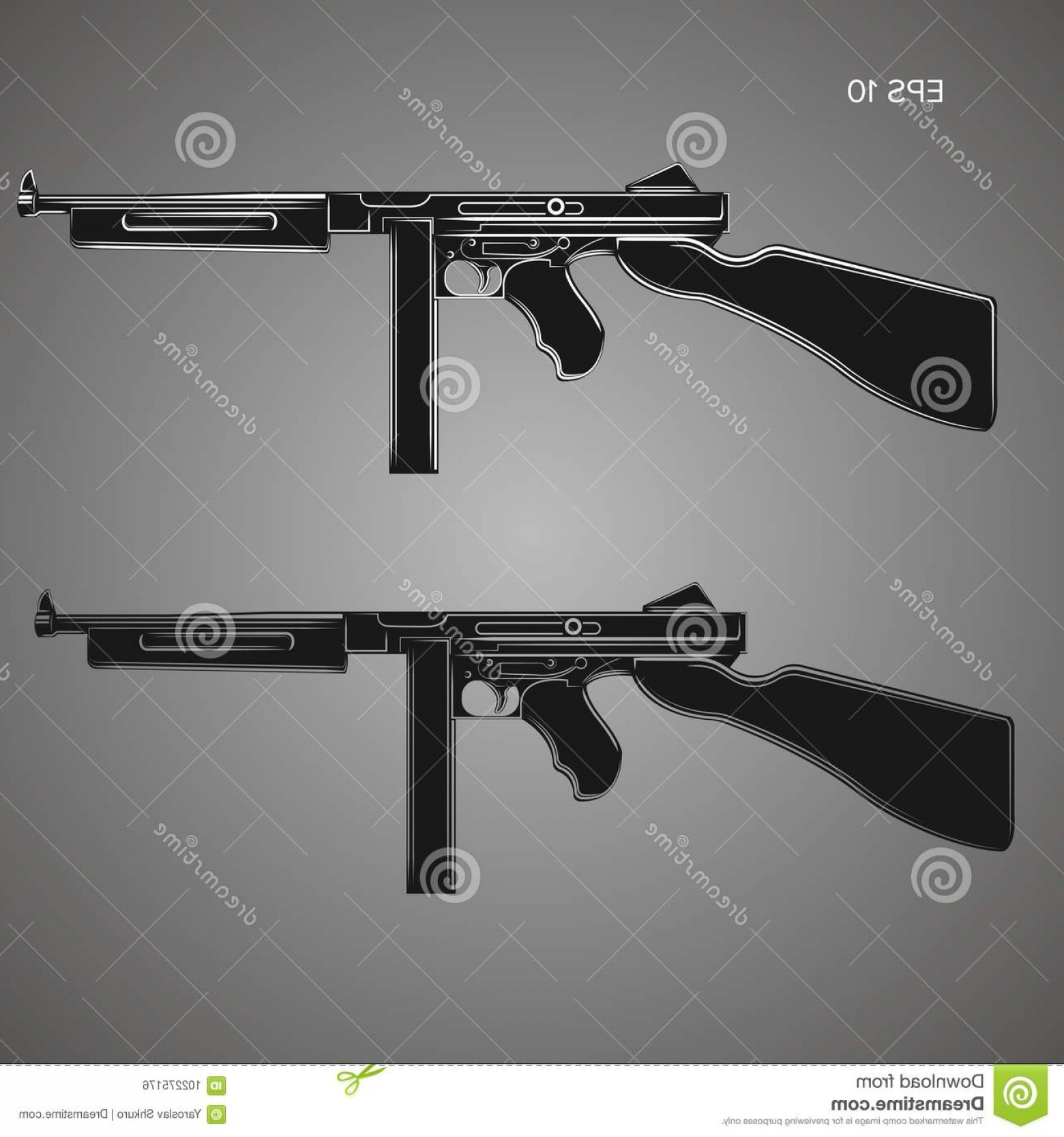 American Gun Vector: Vintage Retro American Sub Machine Gun Vector Illustration Old Famous Gangster Armament Legendary Automatic Weapon Image
