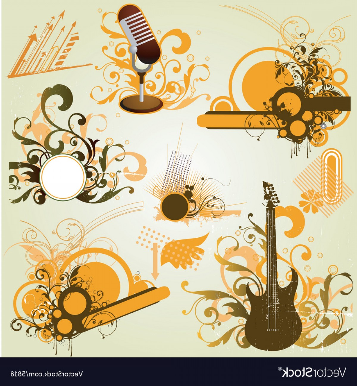 Wicked Musical Logo Vector: Vintage Retro Music Elements Vector