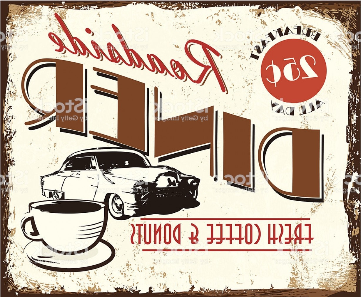 Vintage Diner Vectors: Vintage Roadside Diner With Classic Car Coffee Tin Advertisement Sign Gm