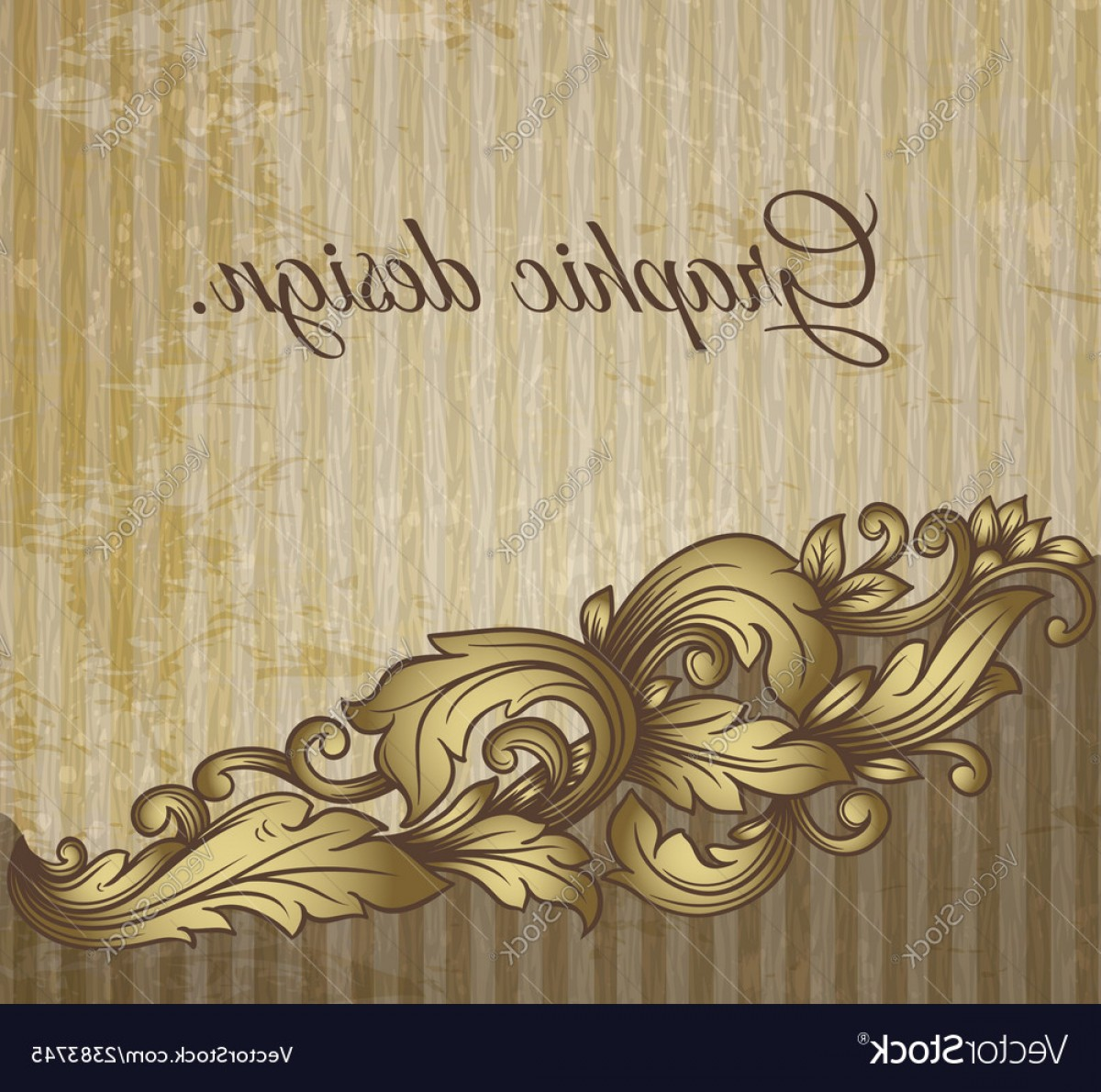 Grunge Scroll Vector Design: Vintage Scroll Pattern At Grunge Background Vector