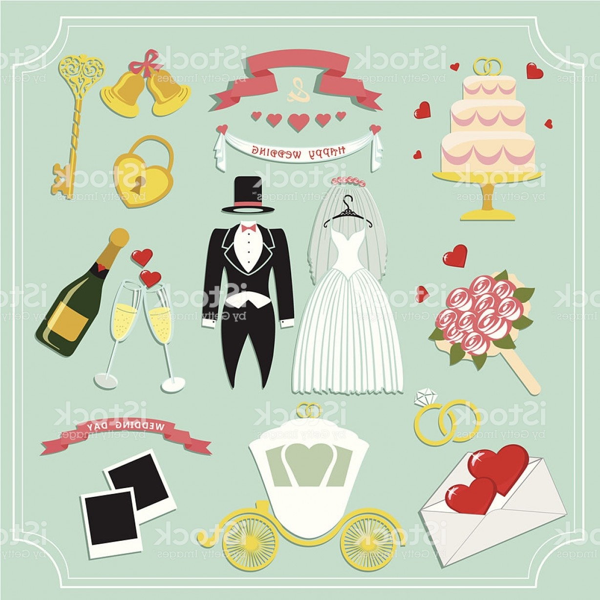 Cute Design Elements Vector Set: Vintage Set For Wedding Invitation Cute Design Elements Gm
