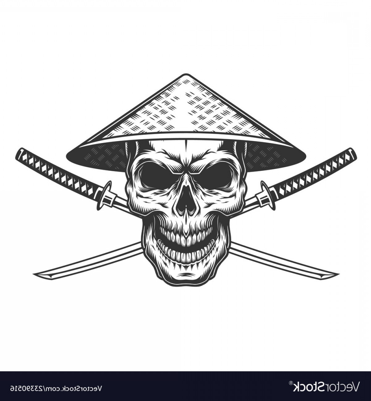 Chinese Geisha Pin Up Vector Art: Vintage Skull In Chinese Conical Straw Vector
