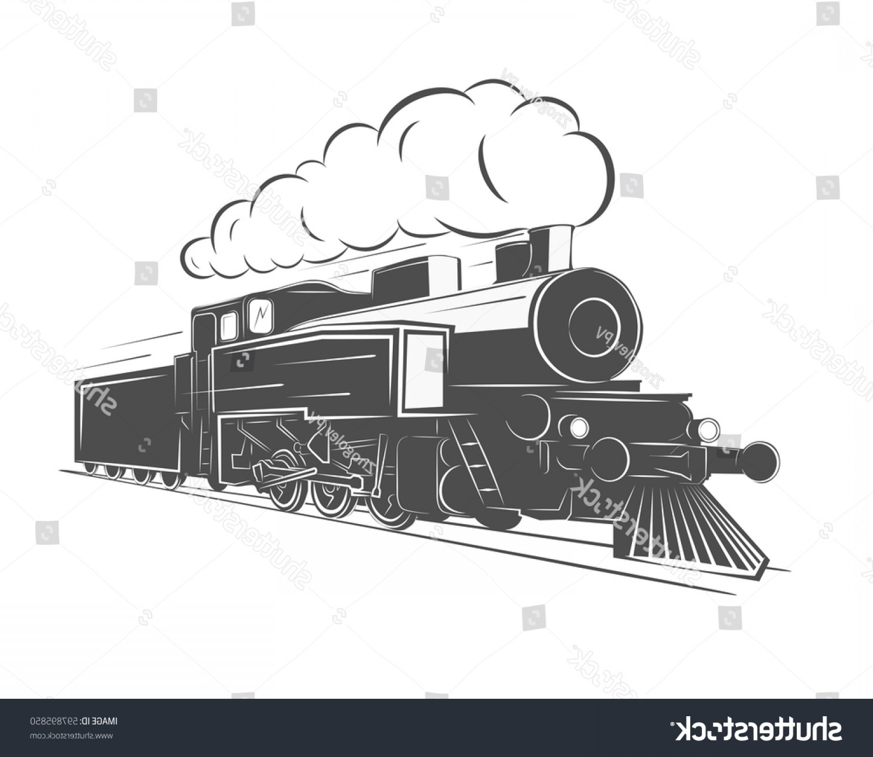 Vintage Steam Train Vector: Vintage Steam Train Isolated On White