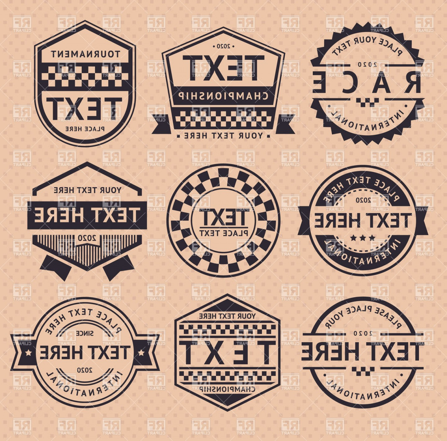 Vintage Sign Vector Clip Art: Vintage Style Sepia Racing Emblems Vector Clipart