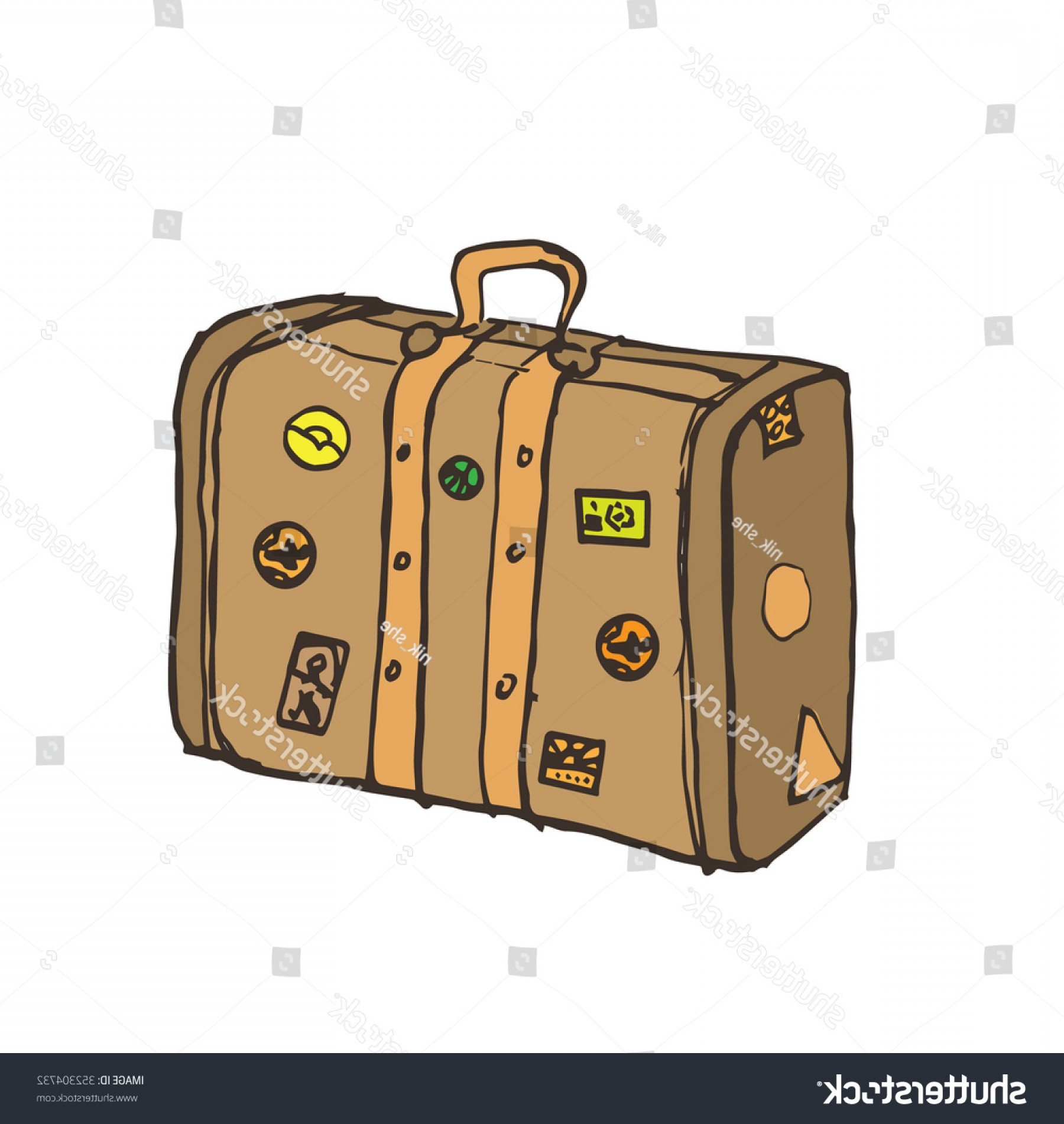 Vintage Luggage Vector: Vintage Suitcase Old Travel Bag Hand