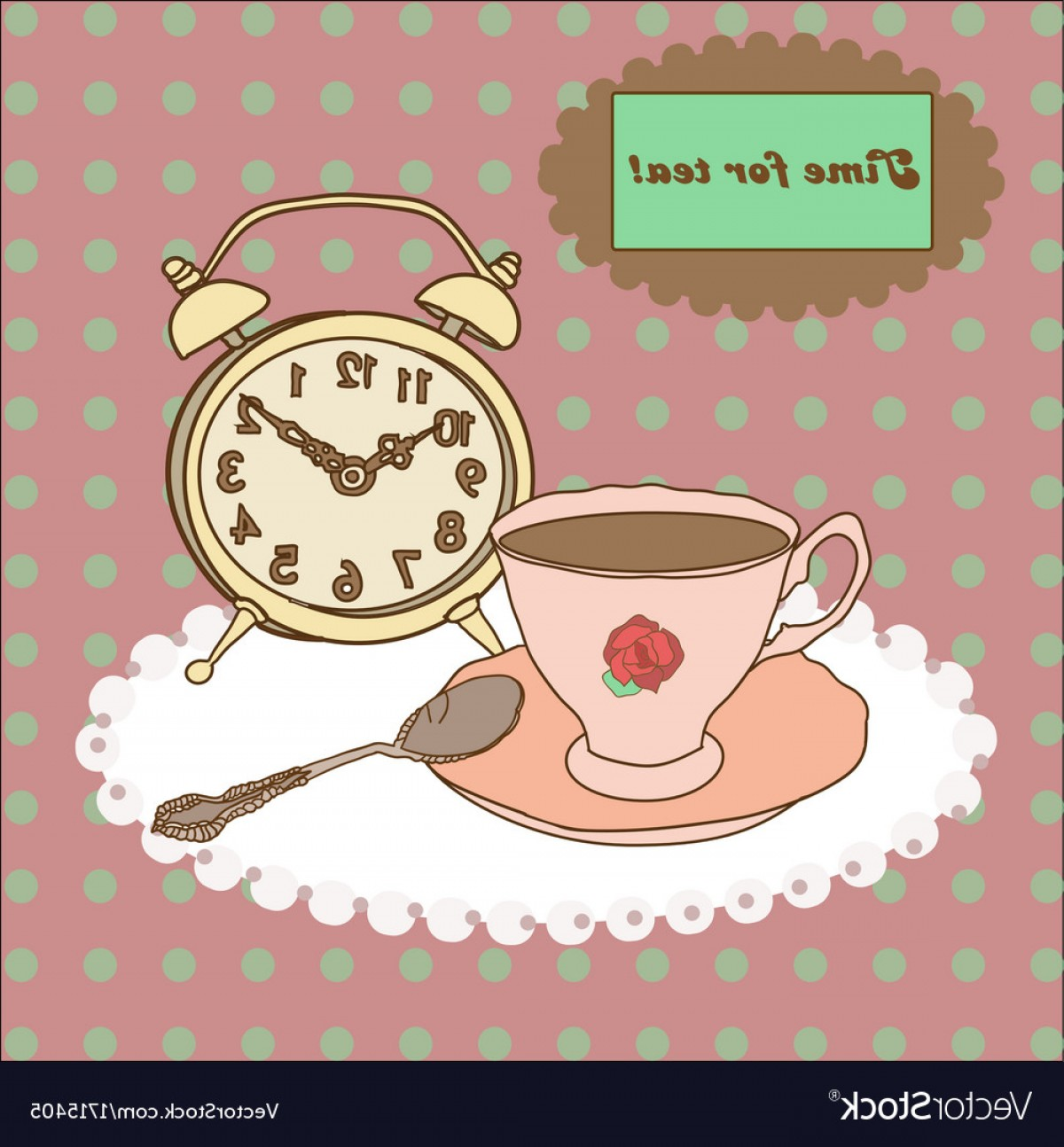 Vintage Tea Cup Vector: Vintage Tea Mug Saucerspoon And Alarm Clock On Vector