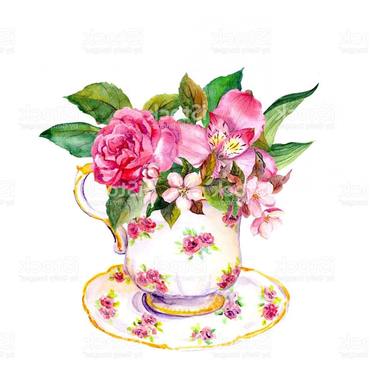 Vintage Tea Cup Vector: Vintage Teacup With Rose Pink Flowers Tea Party Watercolor Gm