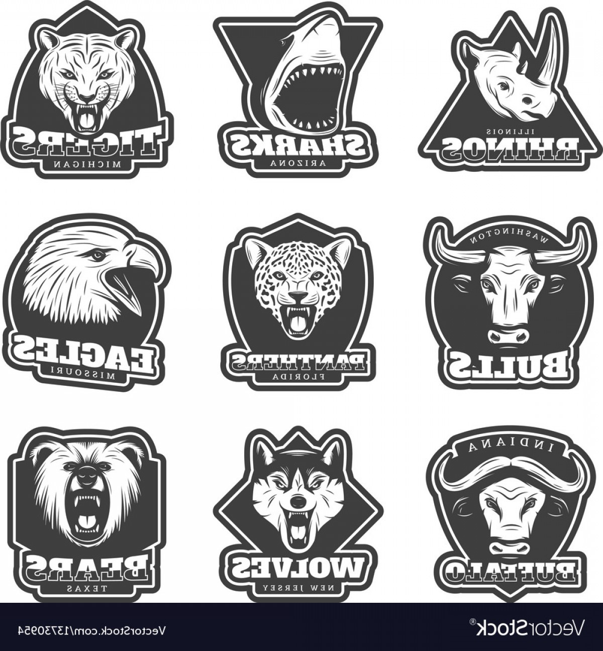 Missouri Tigers Logo Vector Black And White: Vintage Team Sport Logos Set Vector