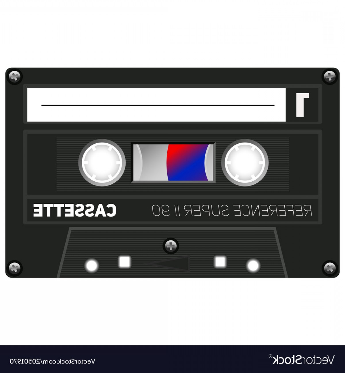 Audio Cassette Vector: Vintage Technology Audio Cassette Vector