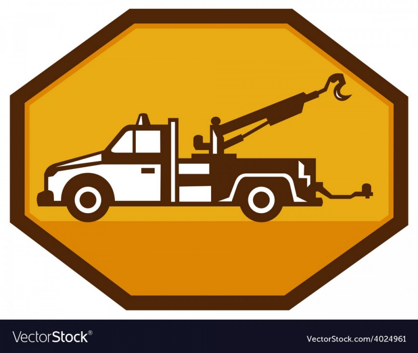Towing Truck Hook Vector: Vintage Tow Wrecker Truck Side View Retro Vector