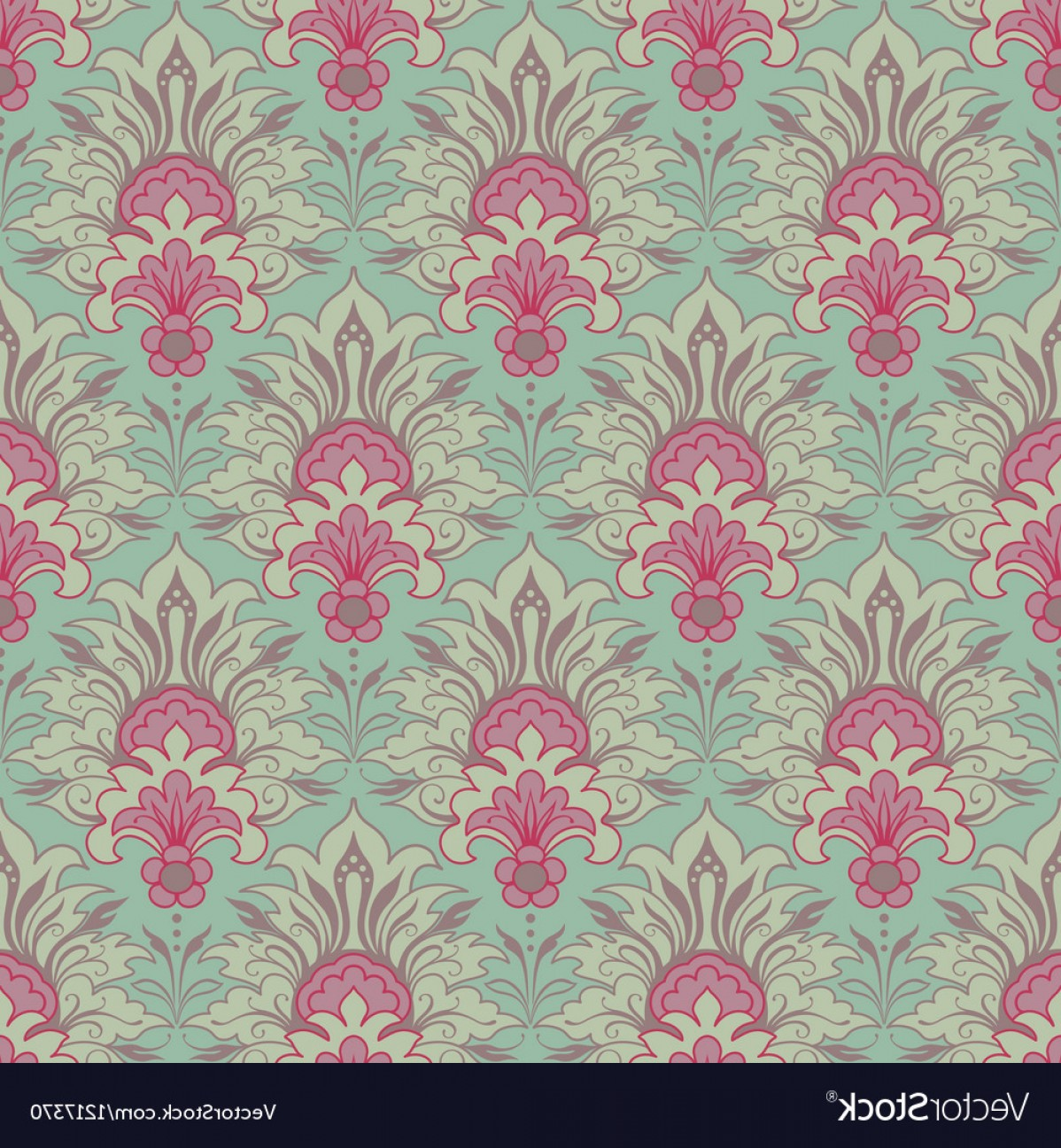 Aqua Victorian Vectors: Vintage Victorian Seamless Background Vector