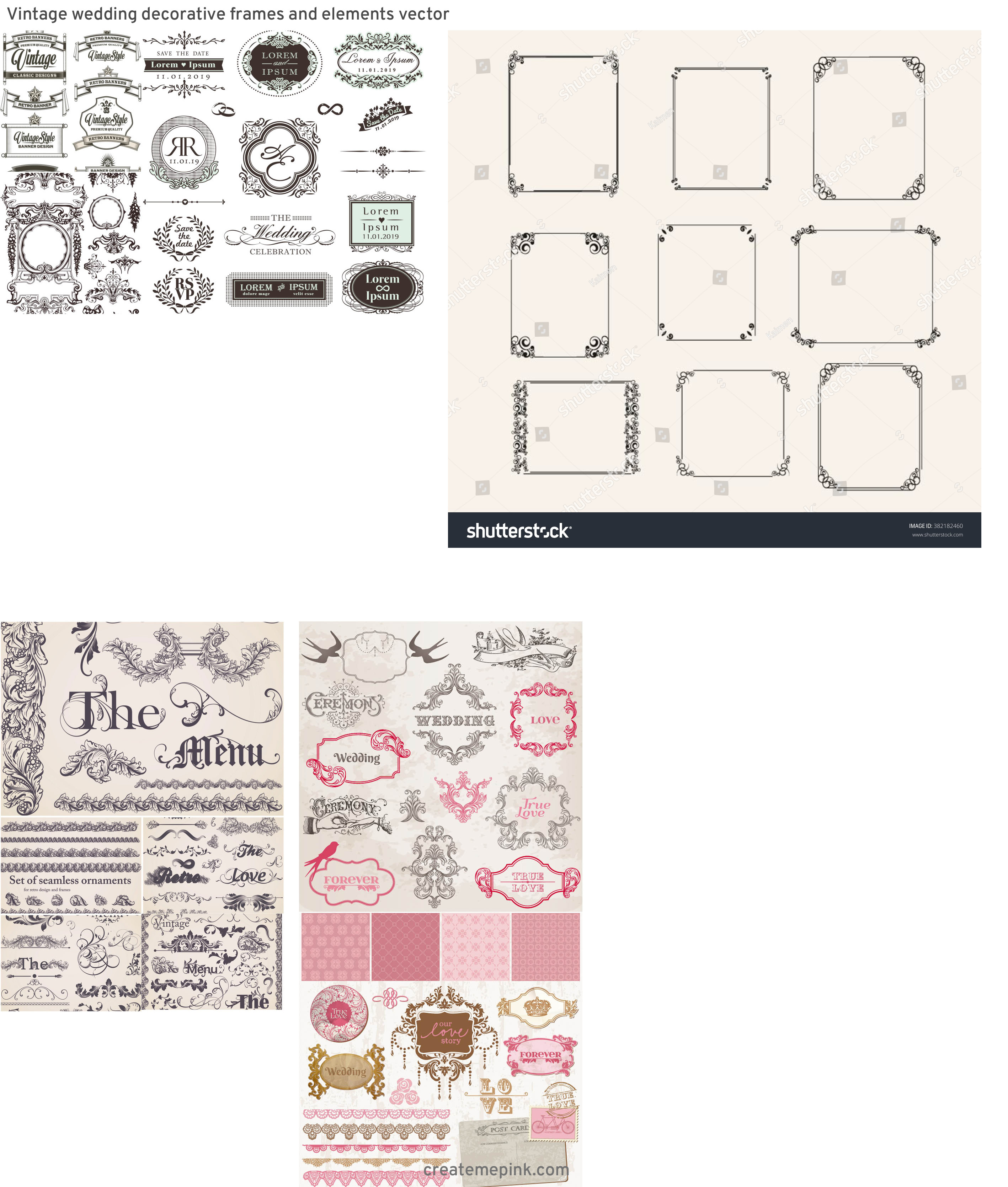 Elements Of Vector Vintage Decorative Frame: Vintage Wedding Decorative Frames And Elements Vector