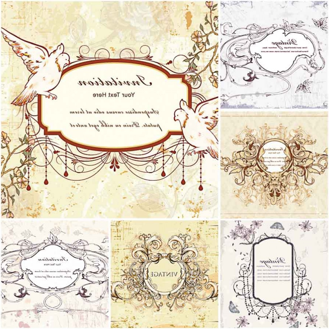 Rustic Wedding Invitation Vector: Vintage Wedding Invitations With Doves Set Vector