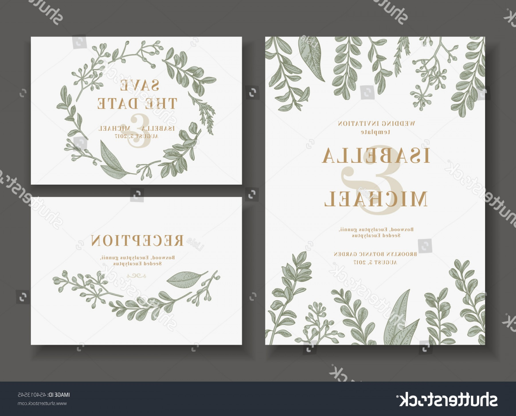 Rustic Wedding Invitation Vector: Vintage Wedding Set Greenery Invitation Save