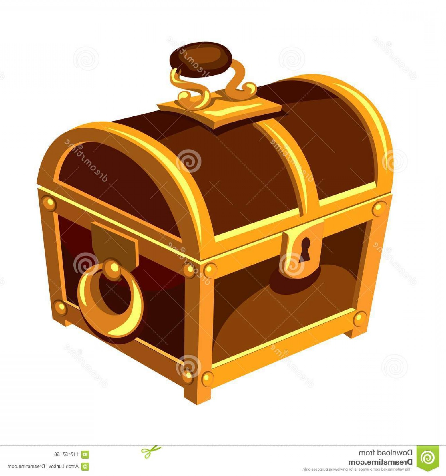 Vector Hinge Western: Vintage Wooden Chest Gold Handle Hinge Isolated White Background Symbol Wealth Well Being Vintage Wooden Chest Image