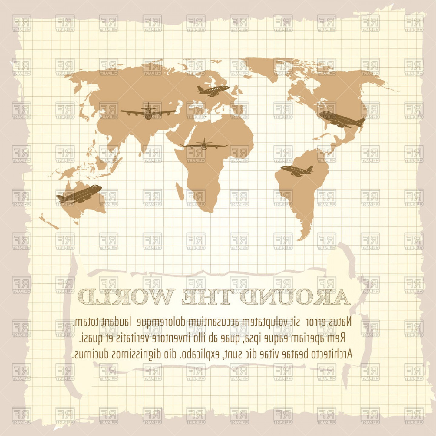 Vintage Map Clipart- Vector: Vintage World Map Airplanes And Around On Notebook Page Vector Clipart