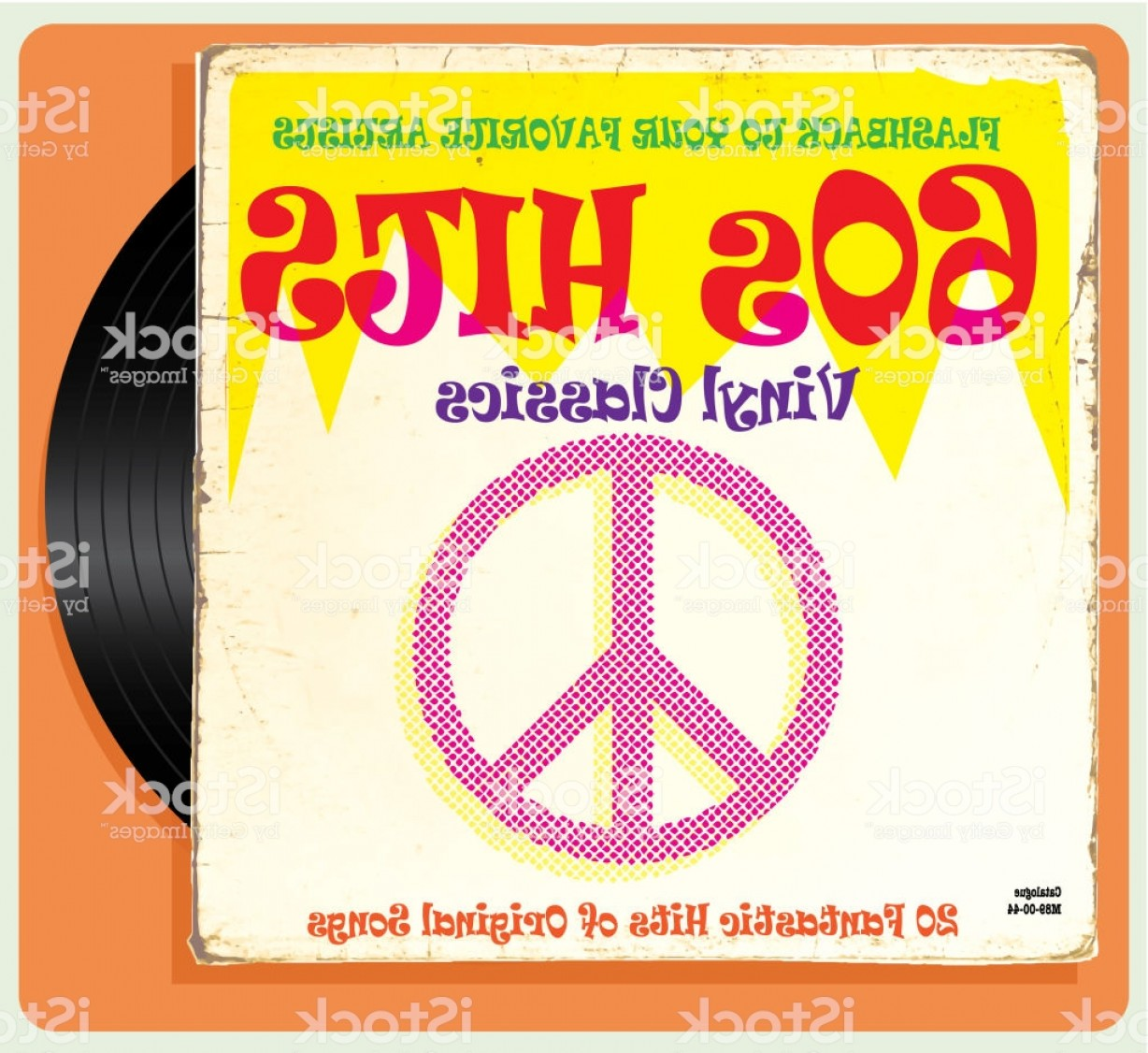 Vector Vinyl Rolls: Vintage Worn S Vinyl Compilation With Peace Sign Gm
