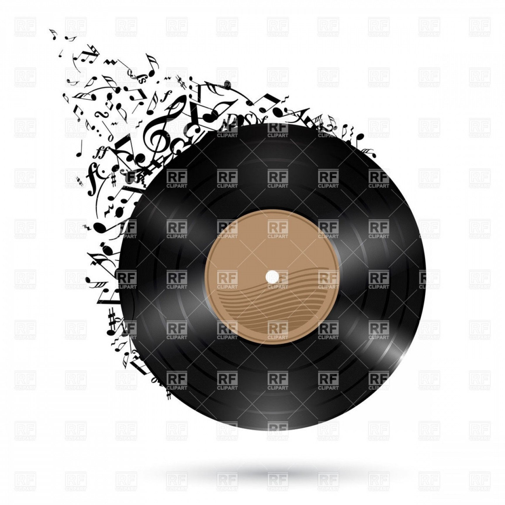 Champagne Vinyl Plotter Vector Art: Vinyl Record With Music Notes Flying Up Vector Clipart