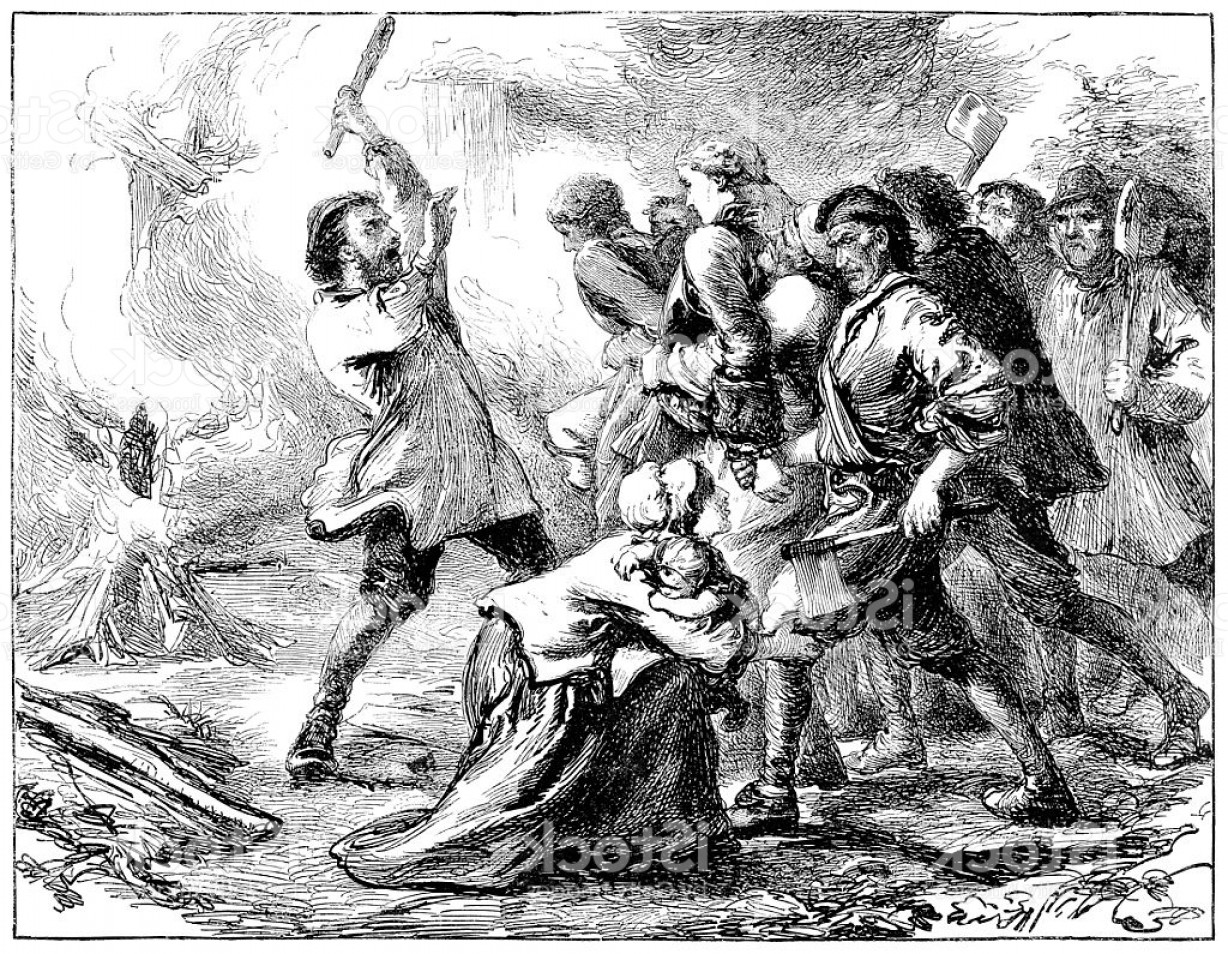 Violent Vector Art: Violent Attack On A Family Victorian Illustration Gm