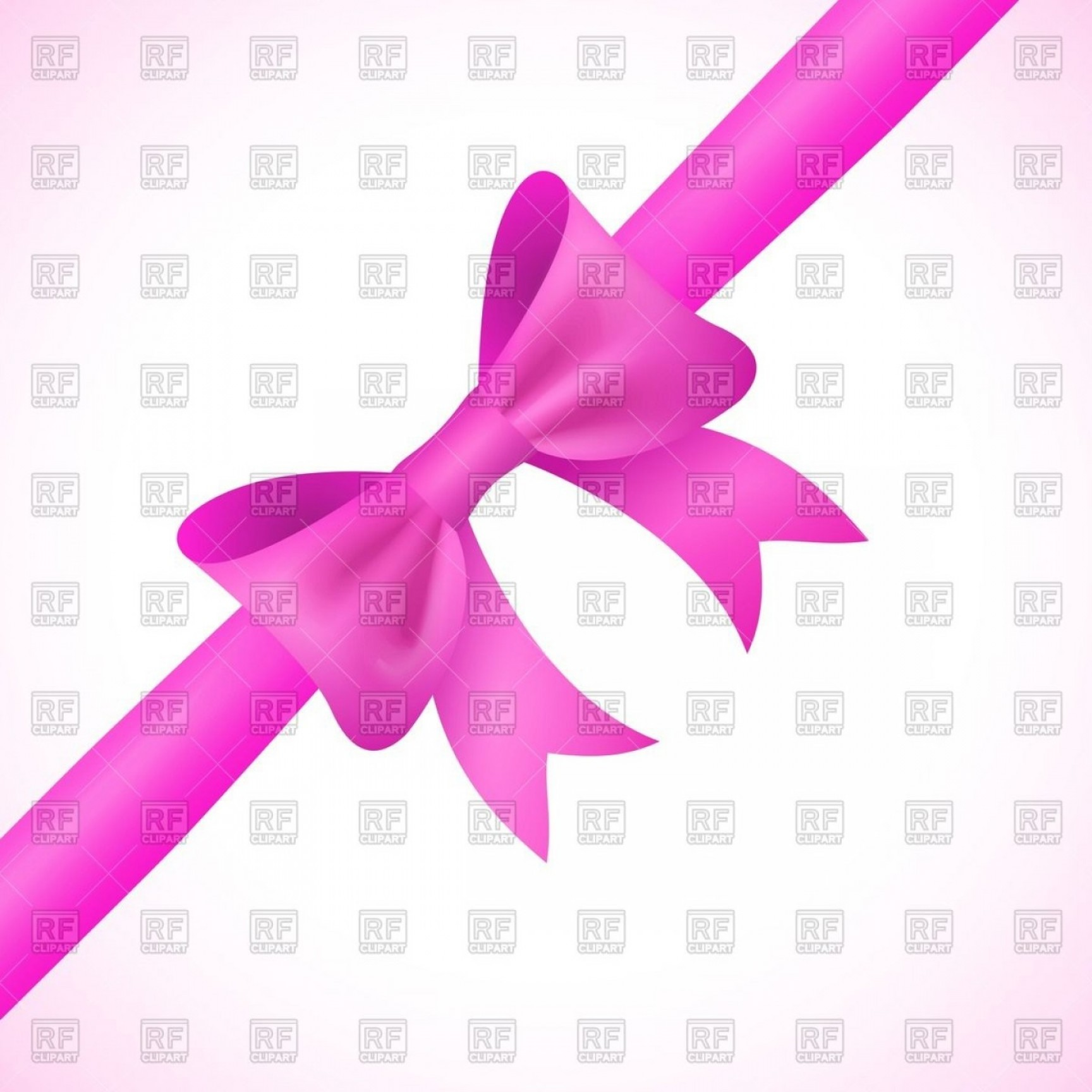 Pink Ribbon Vector Graphic: Violet Bow And Ribbon Vector Clipart