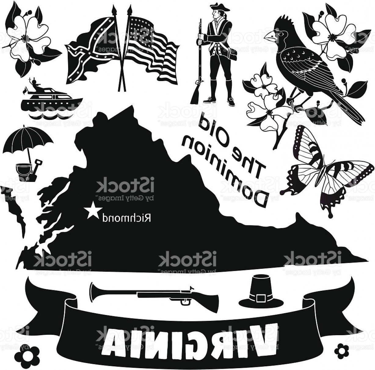 Virginia Vector: Virginia Map And Icons Gm