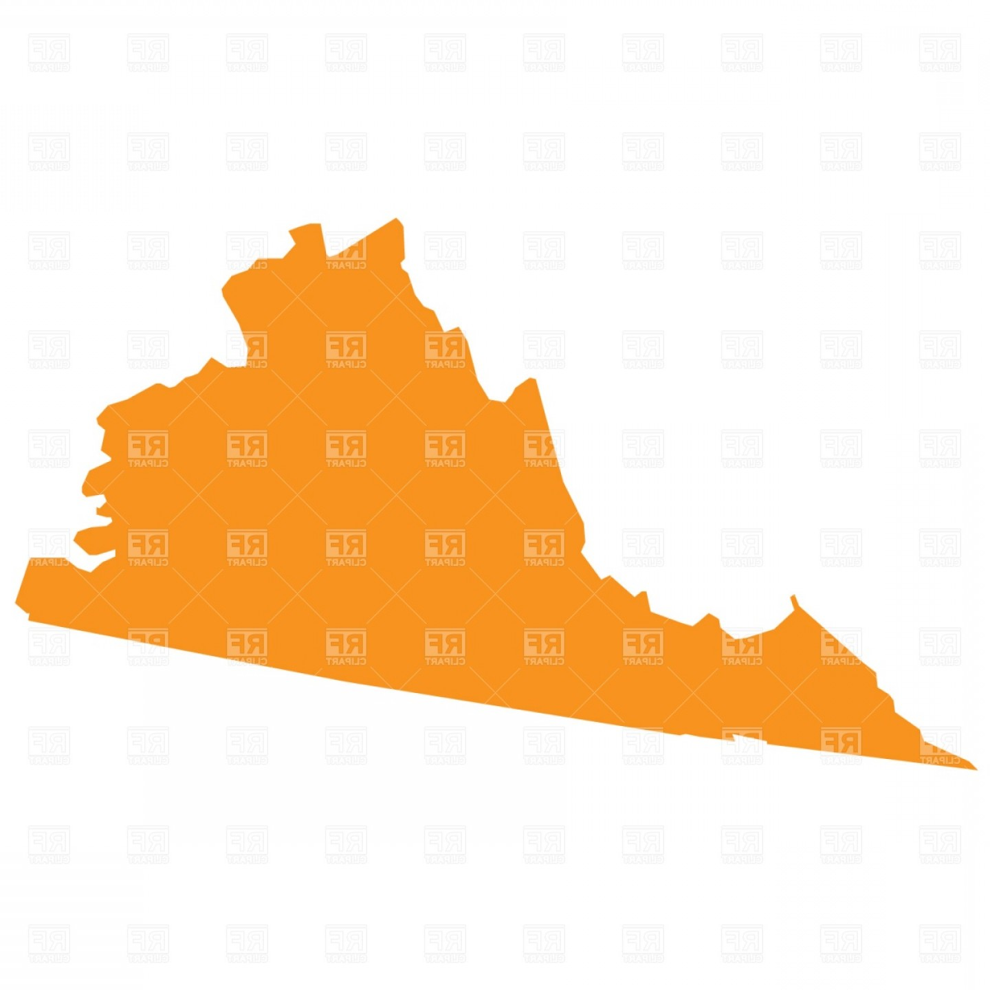 Virginia Vector: Virginia State Map Vector Clipart