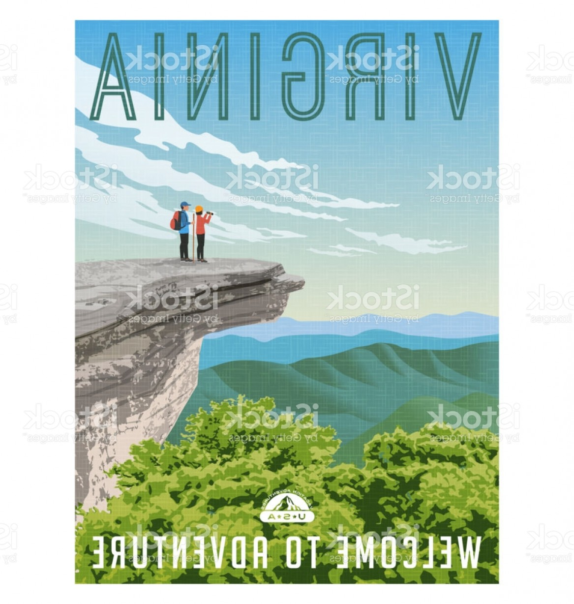 Appalachia Vector: Virginia United States Retro Style Travel Poster Or Sticker Appalachian Trail Gm