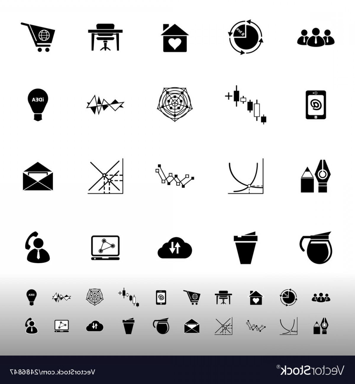 Vector Black And White Organization: Virtual Organization Icons On White Background Vector