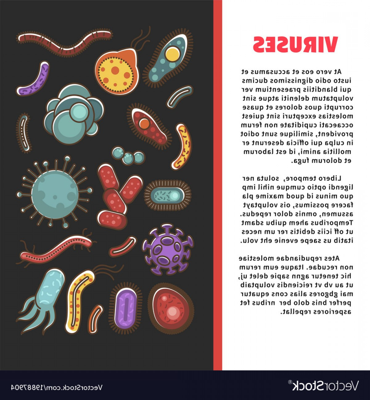 Vector Organisms On A Person: Viruses Informative Scientific Poster With Simple Vector
