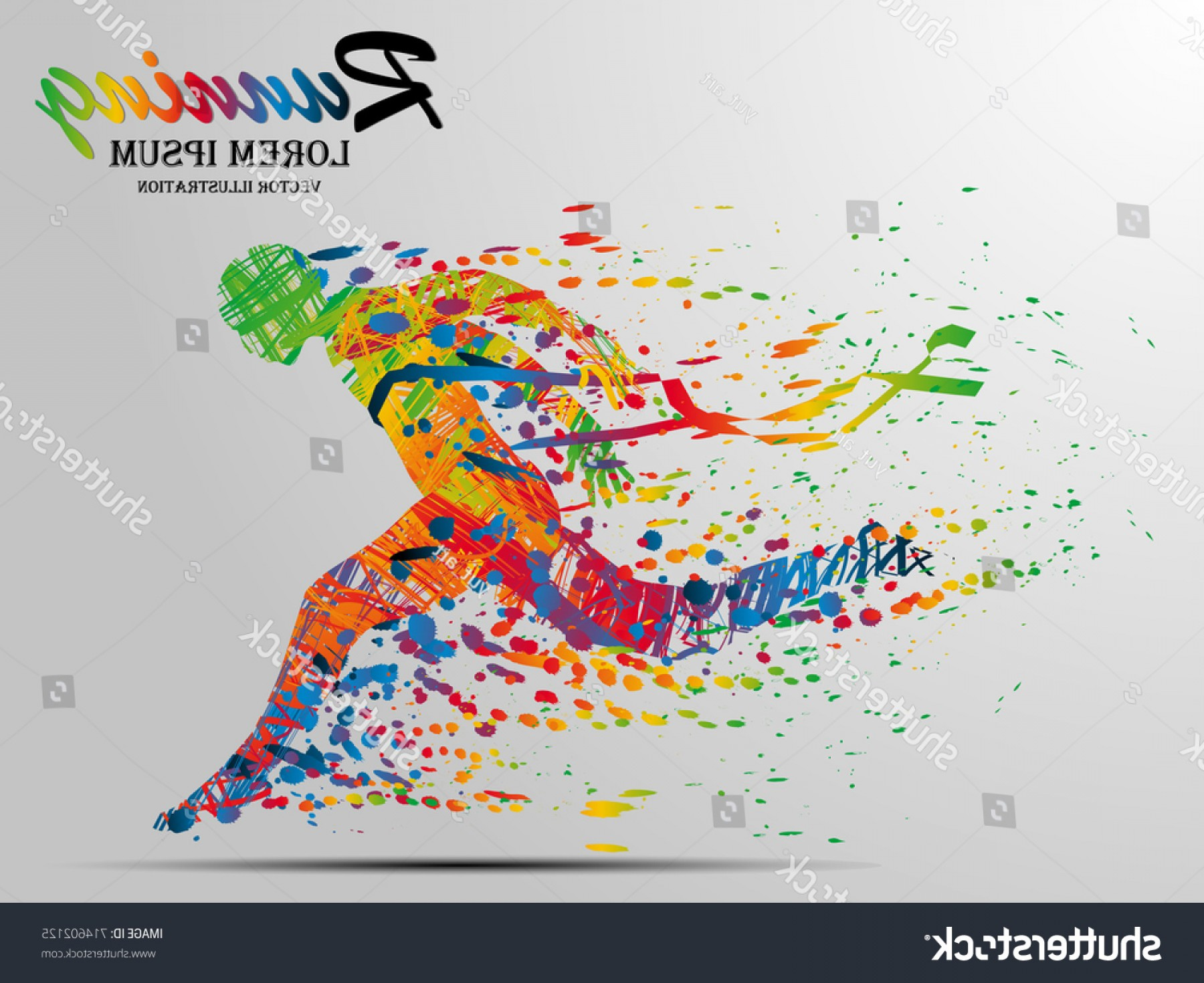 Shutterstock Vector Design With Runner: Visual Drawing Silhouettes Runner Start Finish