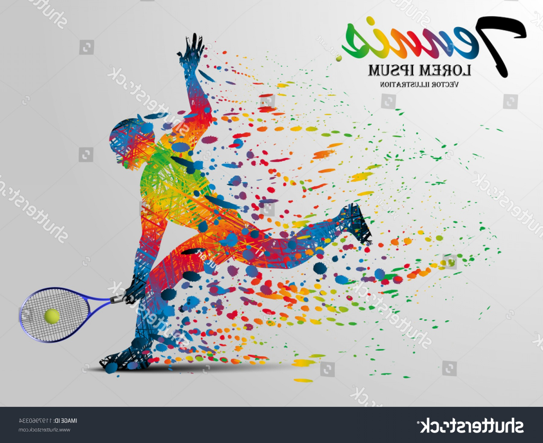 Shutterstock Vector Design With Runner: Visual Drawing Tennis Sport Runner Fast