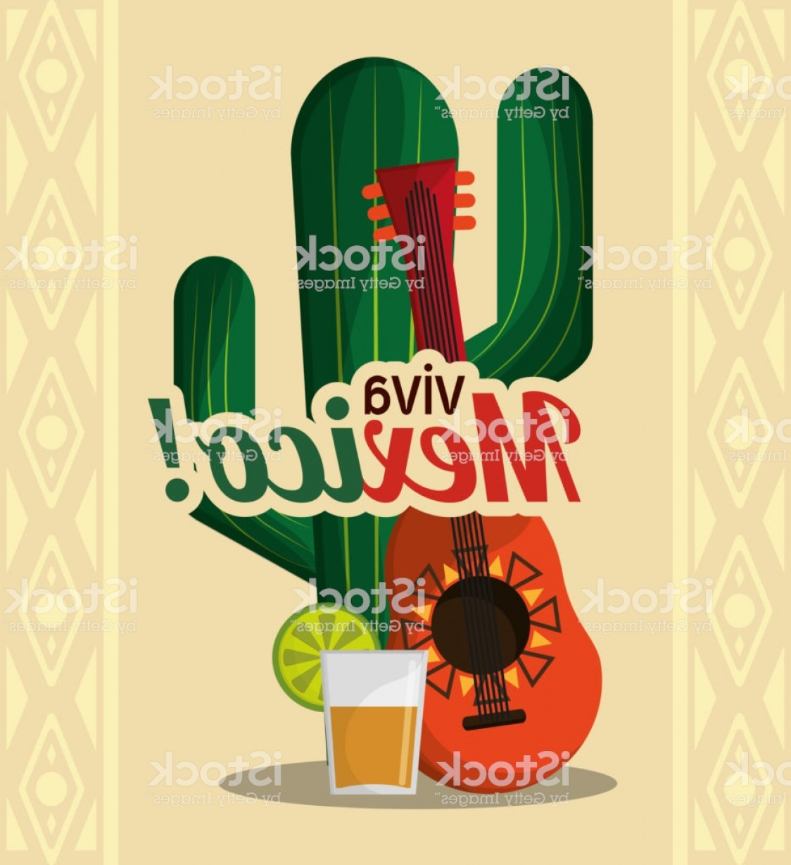 Aztec Cactus Vector: Viva Mexico Cactus Guitar And Drink Tequila Gm