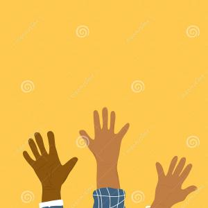 Hand Vector Template: Volunteers Arms Card Template Different Humans Hands Vector Illustration Image