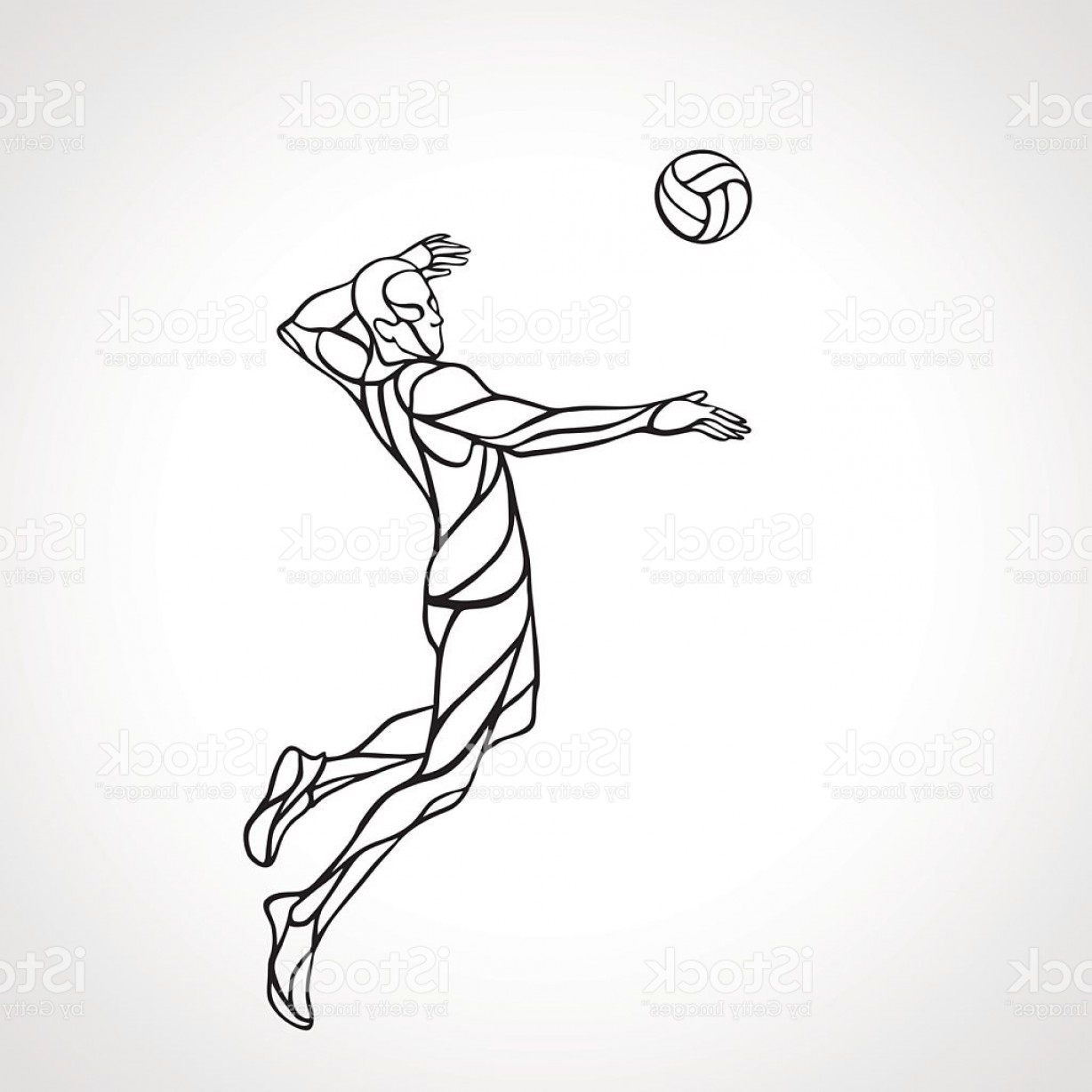 Volleyball Player Vector: Volleyball Attacker Player Outline Silhouette Eps Vector Gm