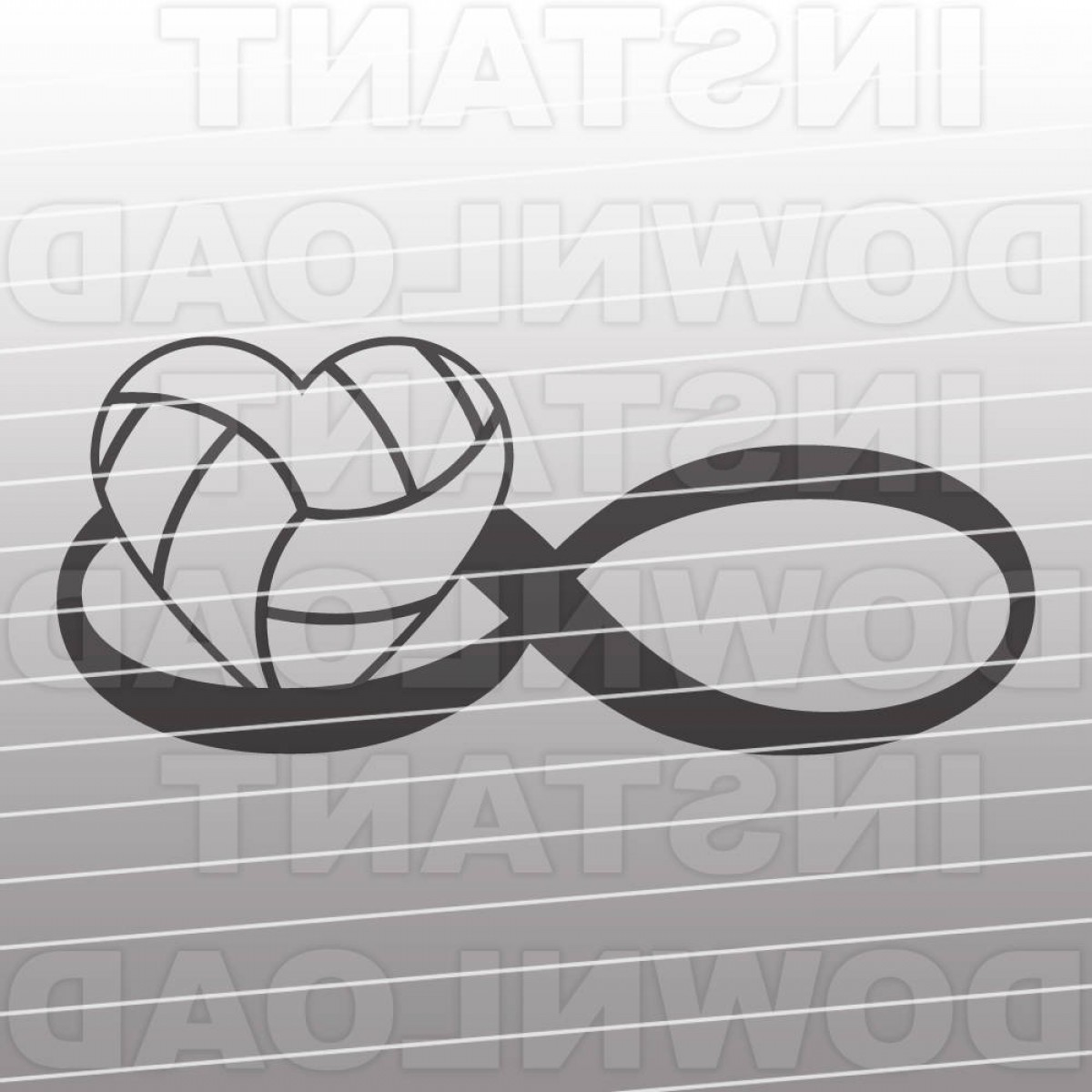 Love Infinity Symbol SVG Vector: Volleyball Svg File Volleyball Heart Svg