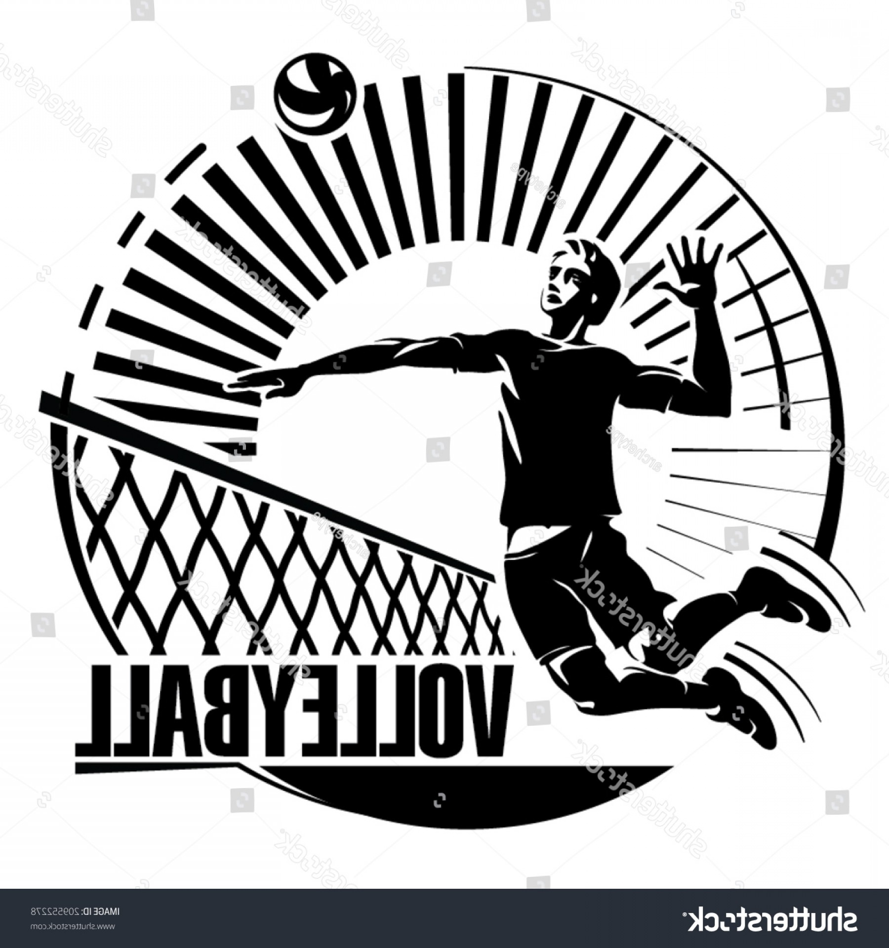 Volleyball Vector Logo: Volleyball Vector Illustration Engraving Style