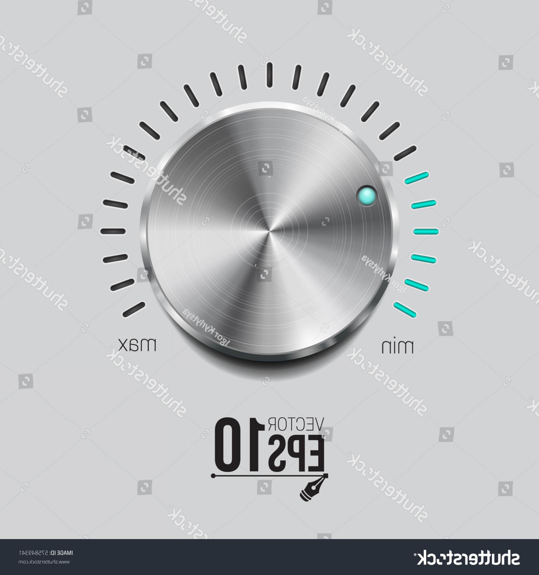 Volume Button Vector: Volume Button Realistic Metal Circle Vector