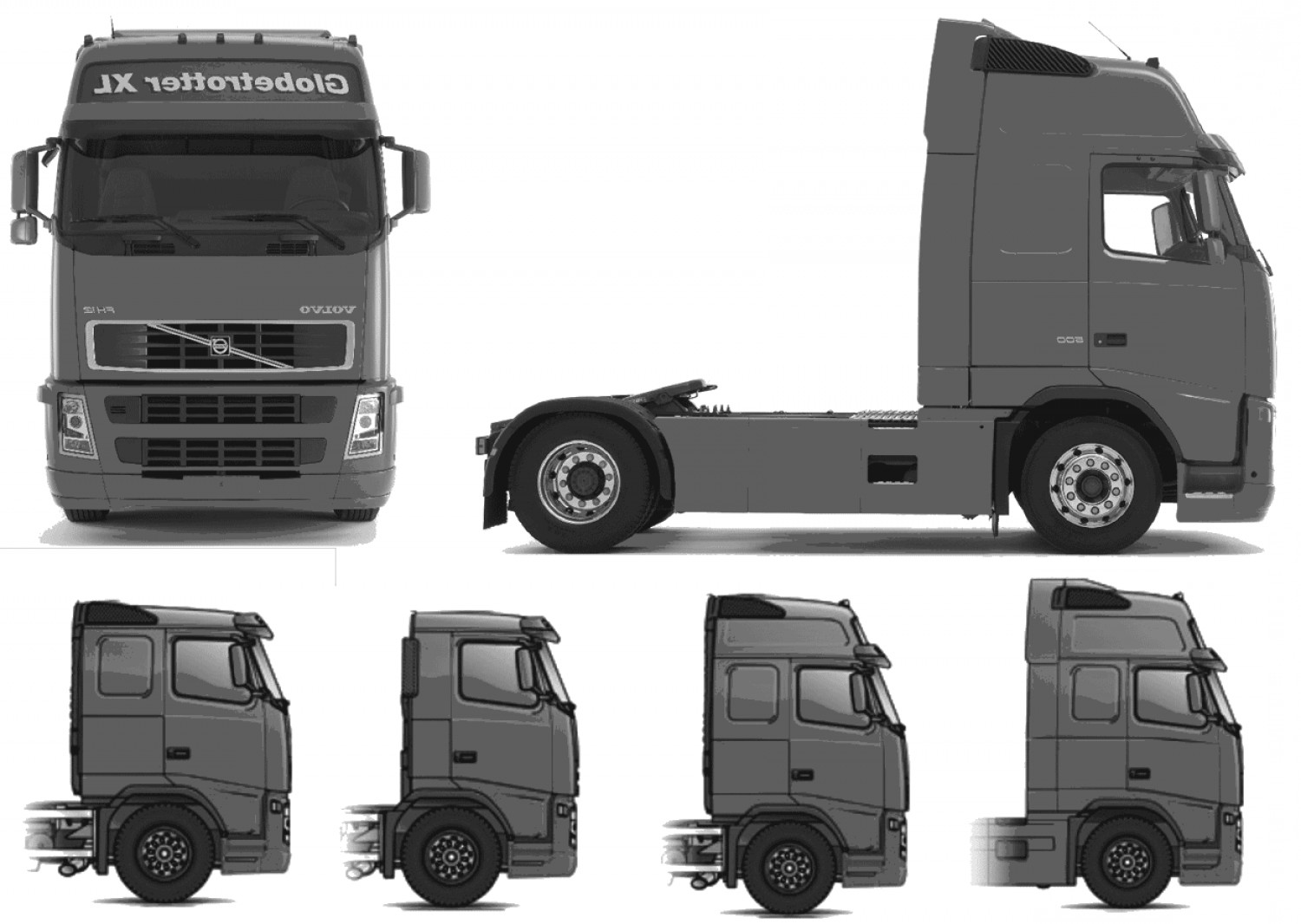 Volvo FH Vector: Volvo Fh Globetrotter Xl Heavy Truck Blueprints