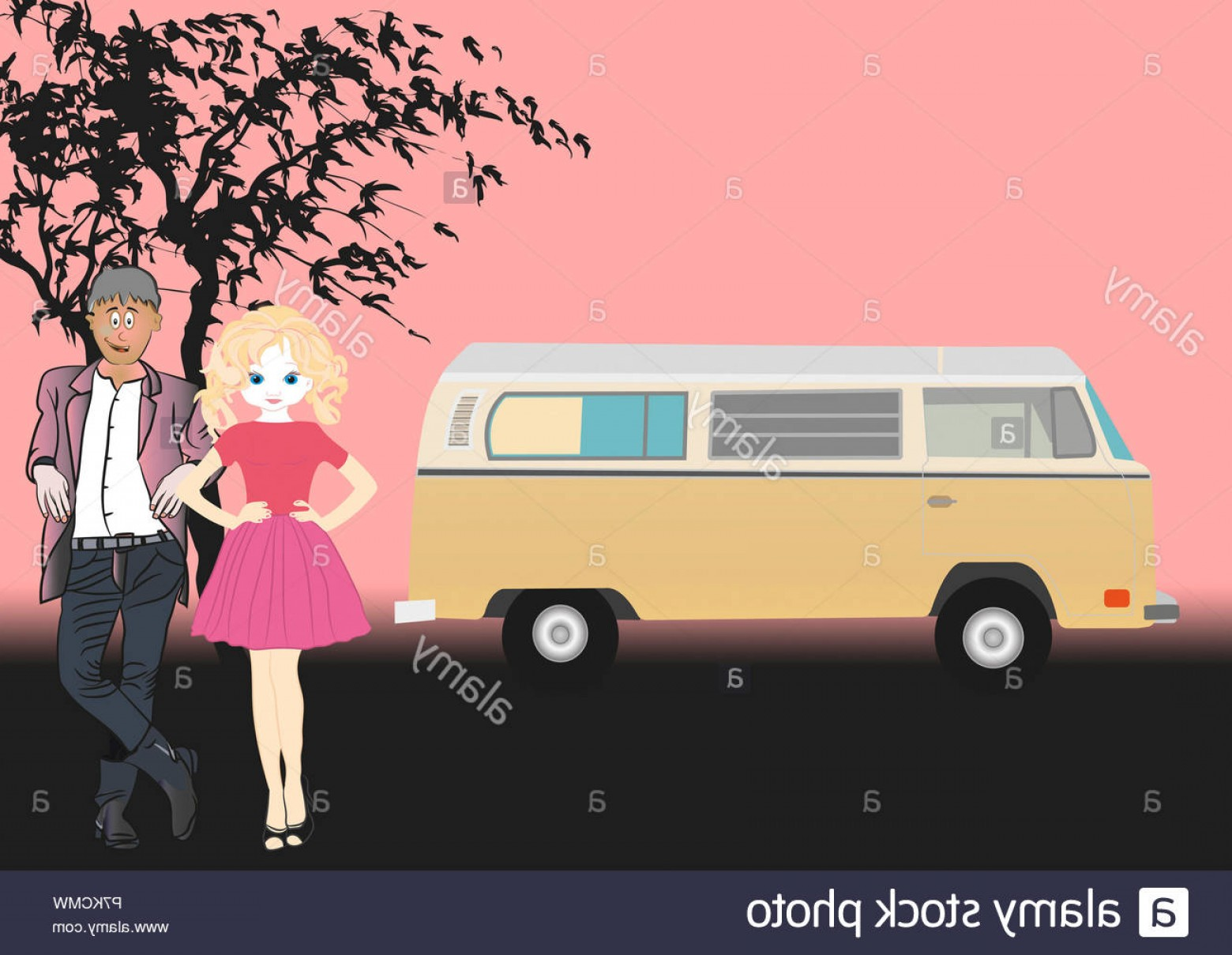 VW Vector Graphic: Vw Bulli Couple Vector Graphic Illustration Image