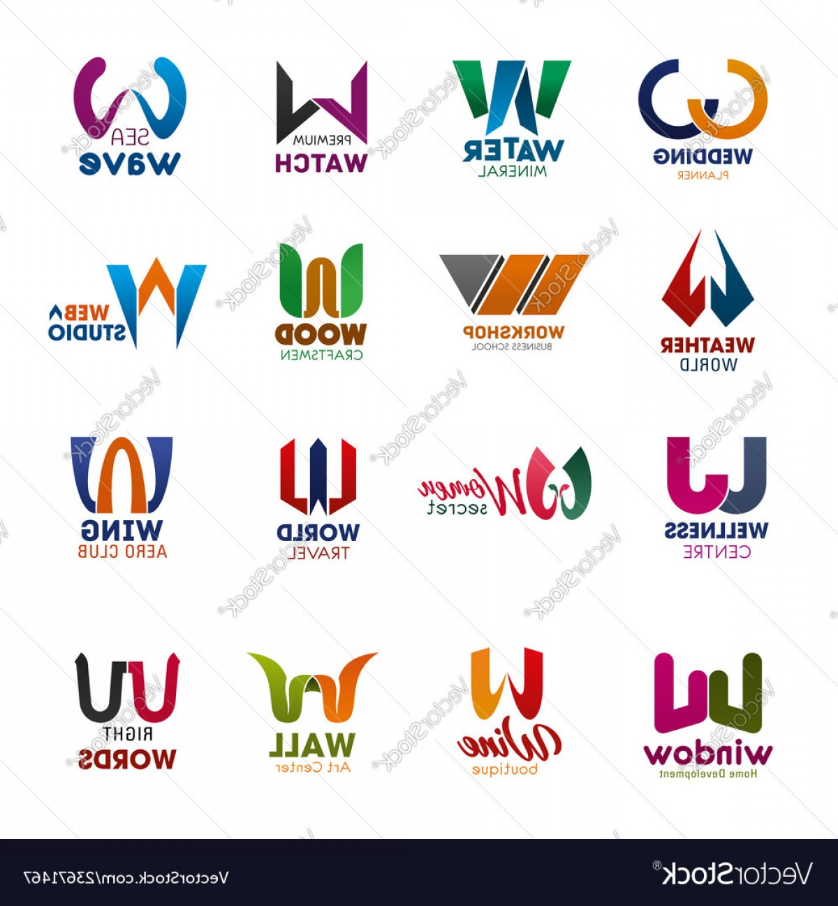 Vector Logo Fonts: W Letter Icons And Signs Creative Fonts Vector