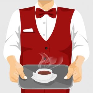 Vector Waiter Coffee: Waiter Serving Cup Of Coffee On Silver Tray Vector